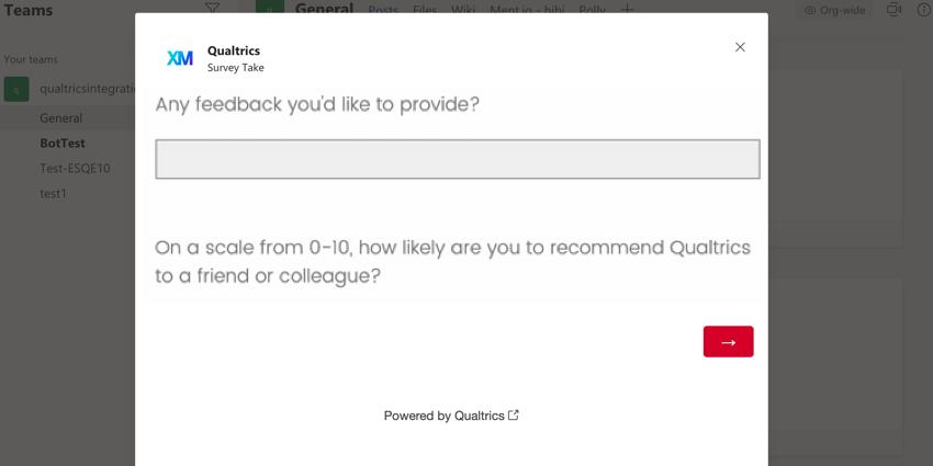 a survey in microsoft teams