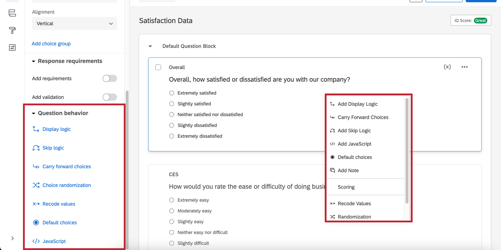Question behavior menu on the left side and shown after right-clicking on the question itself