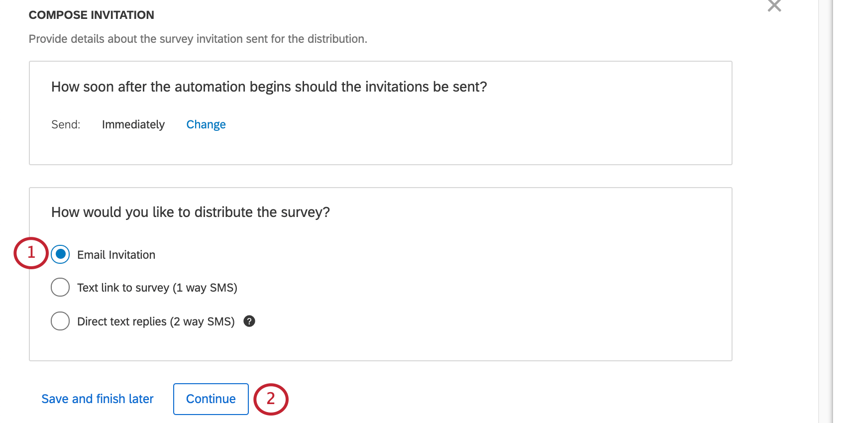 """Selecting """"email invitation"""" from the options presented"""