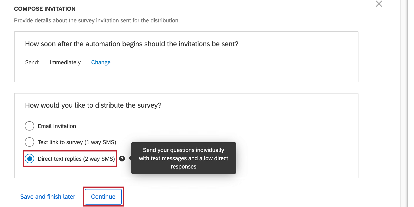 """Image of 2-way SMS option selected, with info tooltip expanded that says """"""""Send your questions individually with text messages and allow direct replies"""""""