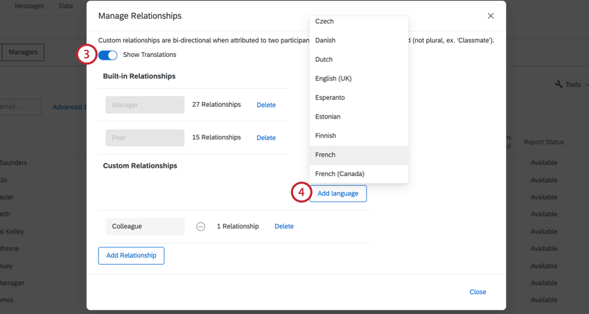 clicking show relationships and then add language and selecting a language