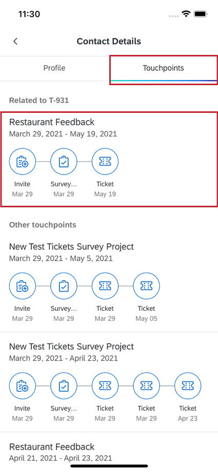 Touchpoints section of the XM Directory profile card