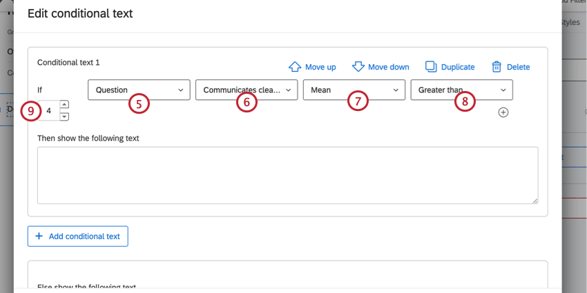creating the conditional text condition. In this case, we're showing the text when a category score mean is over 4