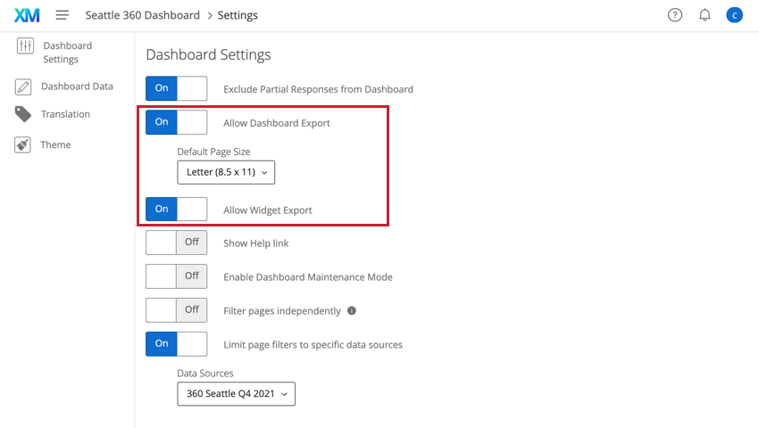 the allow dashboard export and allow widget export options