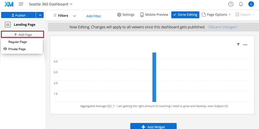 clicking Add Page to add dashboard pages