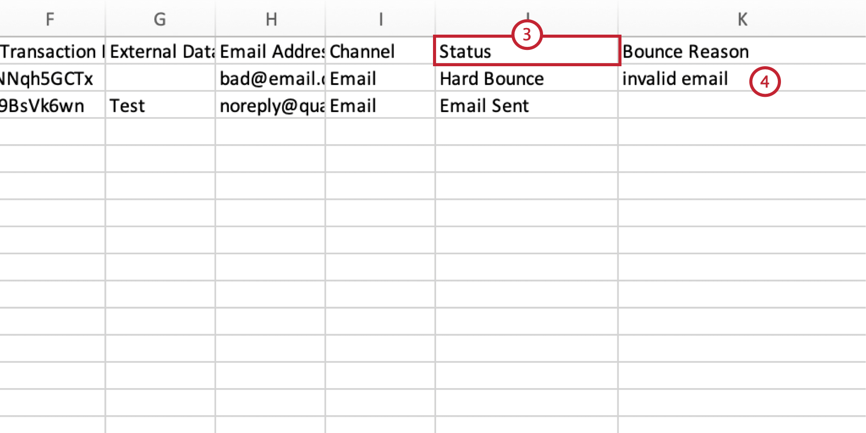filtering the status column and looking at the bounce reason in the Bounce Reason column