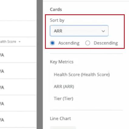choosing the sort by metric and order