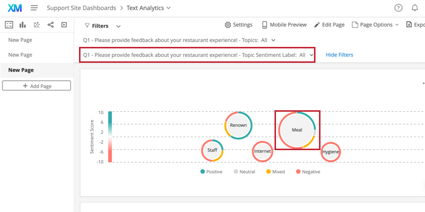 filtering by using the topic sentiment label or by clicking on a bubble in the bubble chart widget