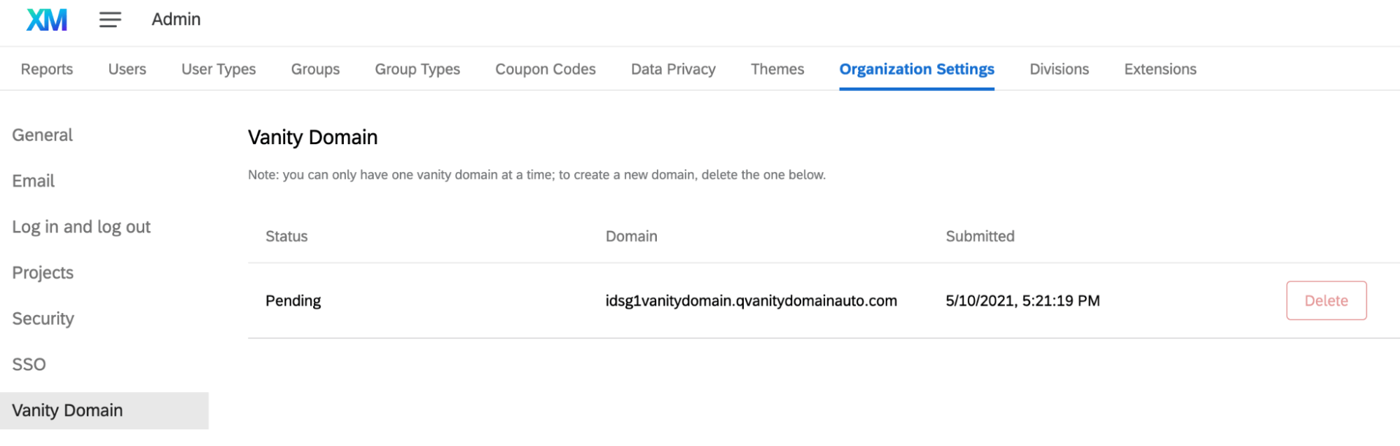 Domain status page