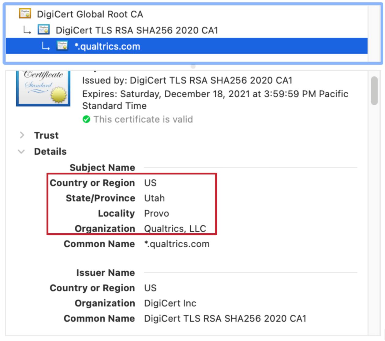 TLS Certificate example