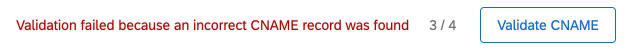 Error message for CNAME validation