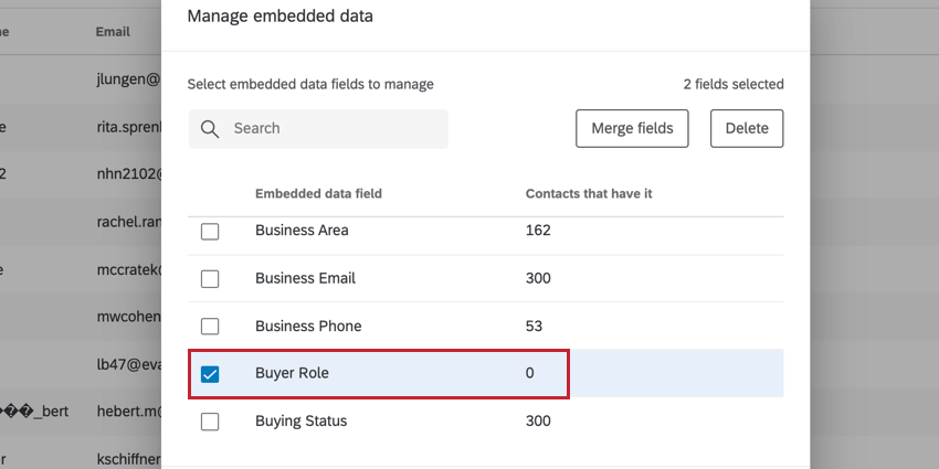 choosing an embedded data field with zero contacts