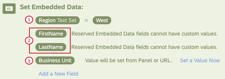 different types of embedded data fields in an embedded data element