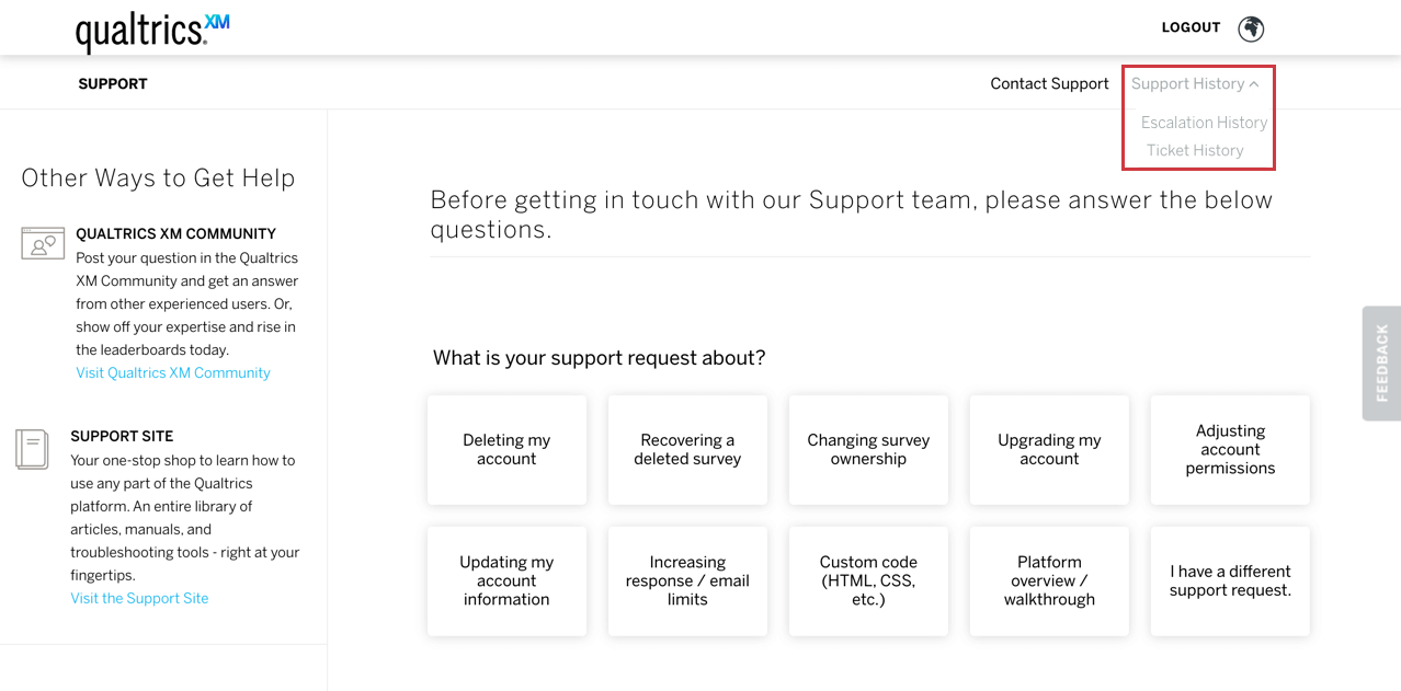 Support history dropdown menu in the upper right corner