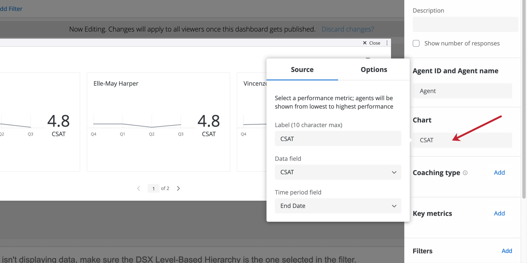 Screenshot pointing to the chart field, which opens into a few dropdowns you can configure