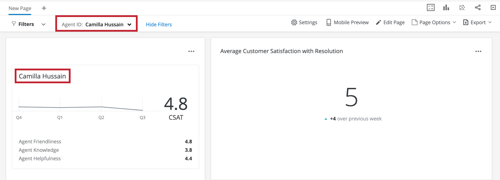An image of a dashboard where the filter is configured to a given rep, making the info shown in widgets limited to that person