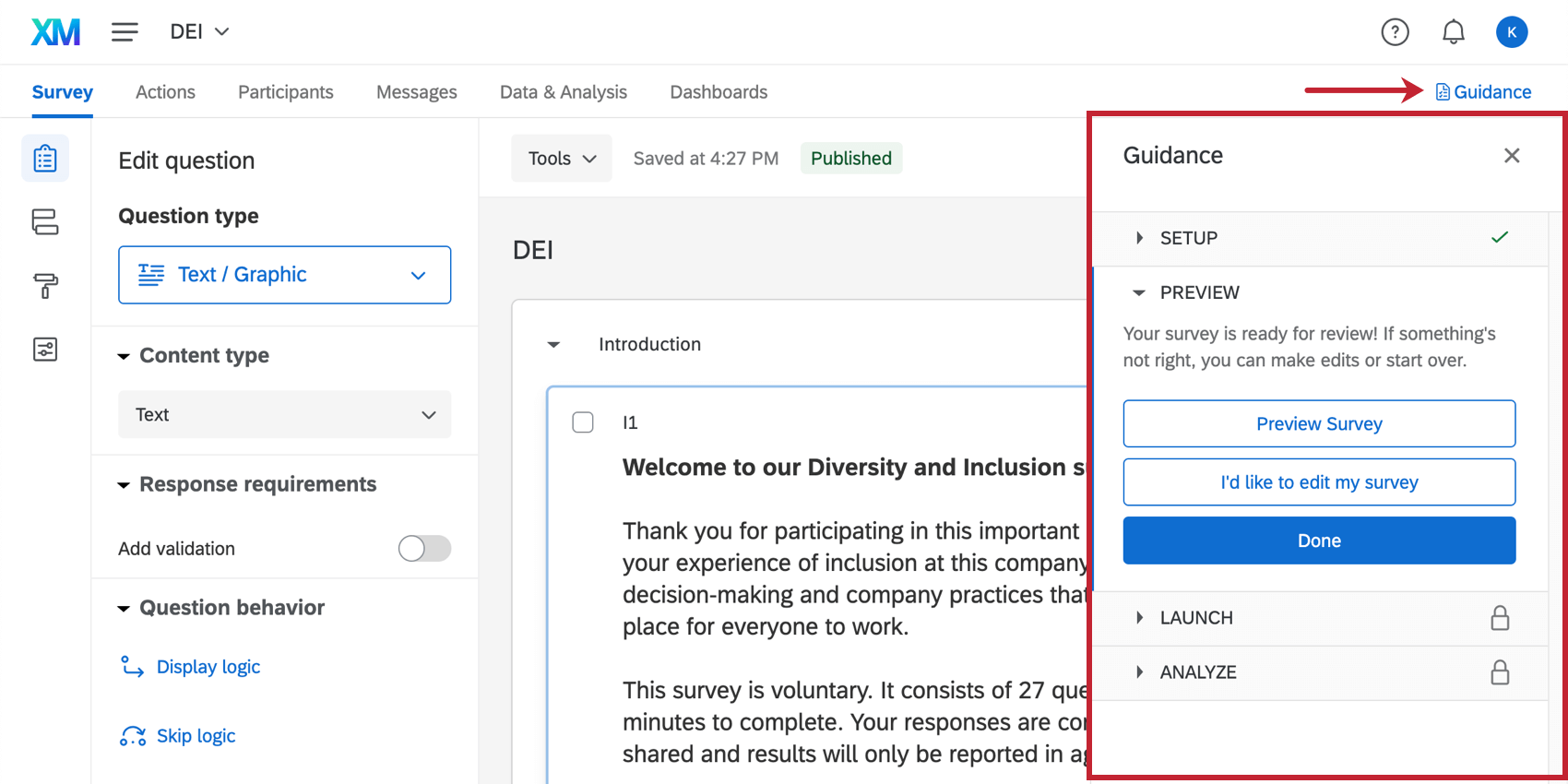 Guidance panel that opens on the right side of every page of the DEI project