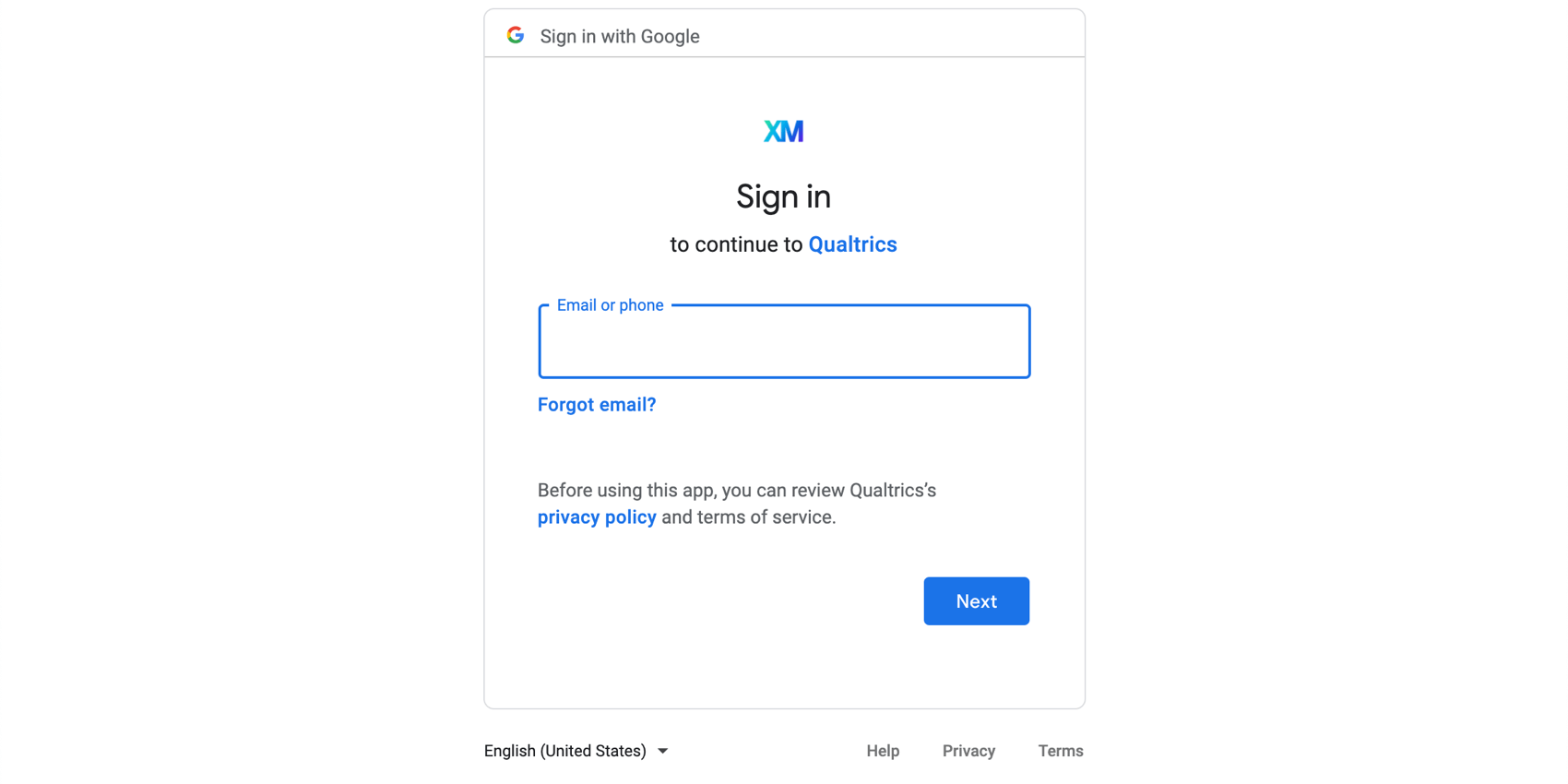 Screenshot of the google login screen, but with the Qualtrics xm logo on top