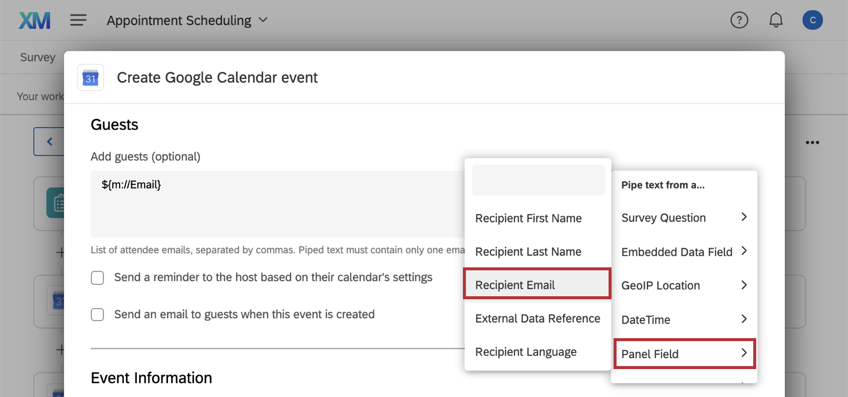 Piped text dropdown with recipient email and panel field selected.