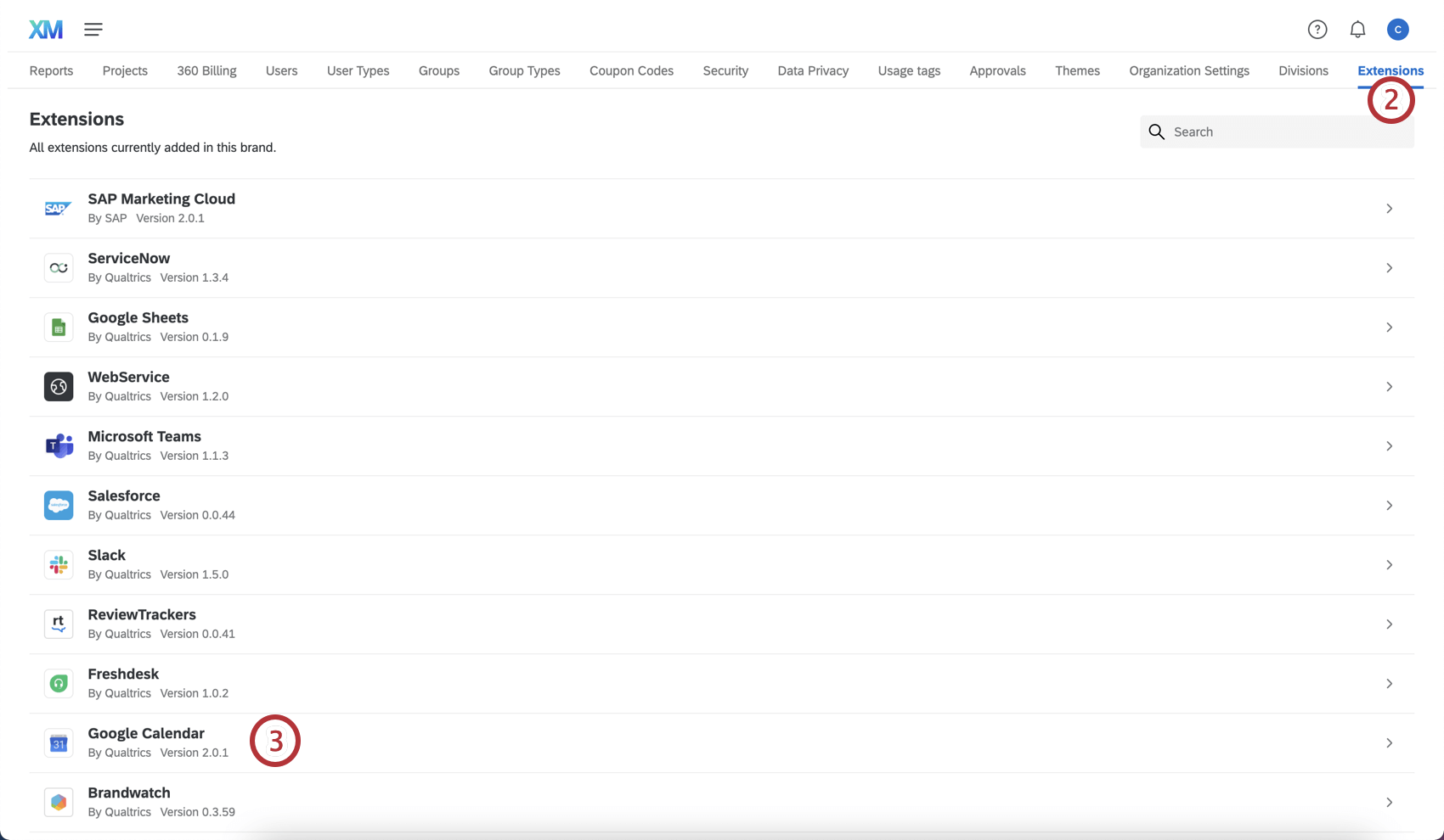 List of extensions with #3 next to Google Calendar extension.