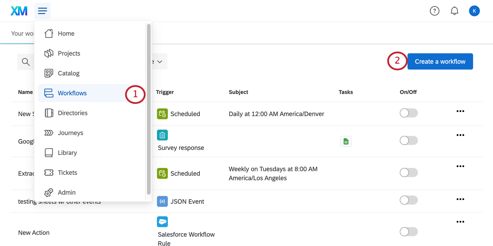 choosing workflows in global navigation and then clicking create a workflow