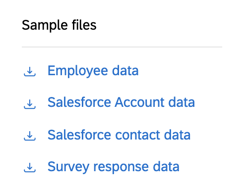a list of example files, including: employee data, salesforce account data, salesforce contact data, and survey response data
