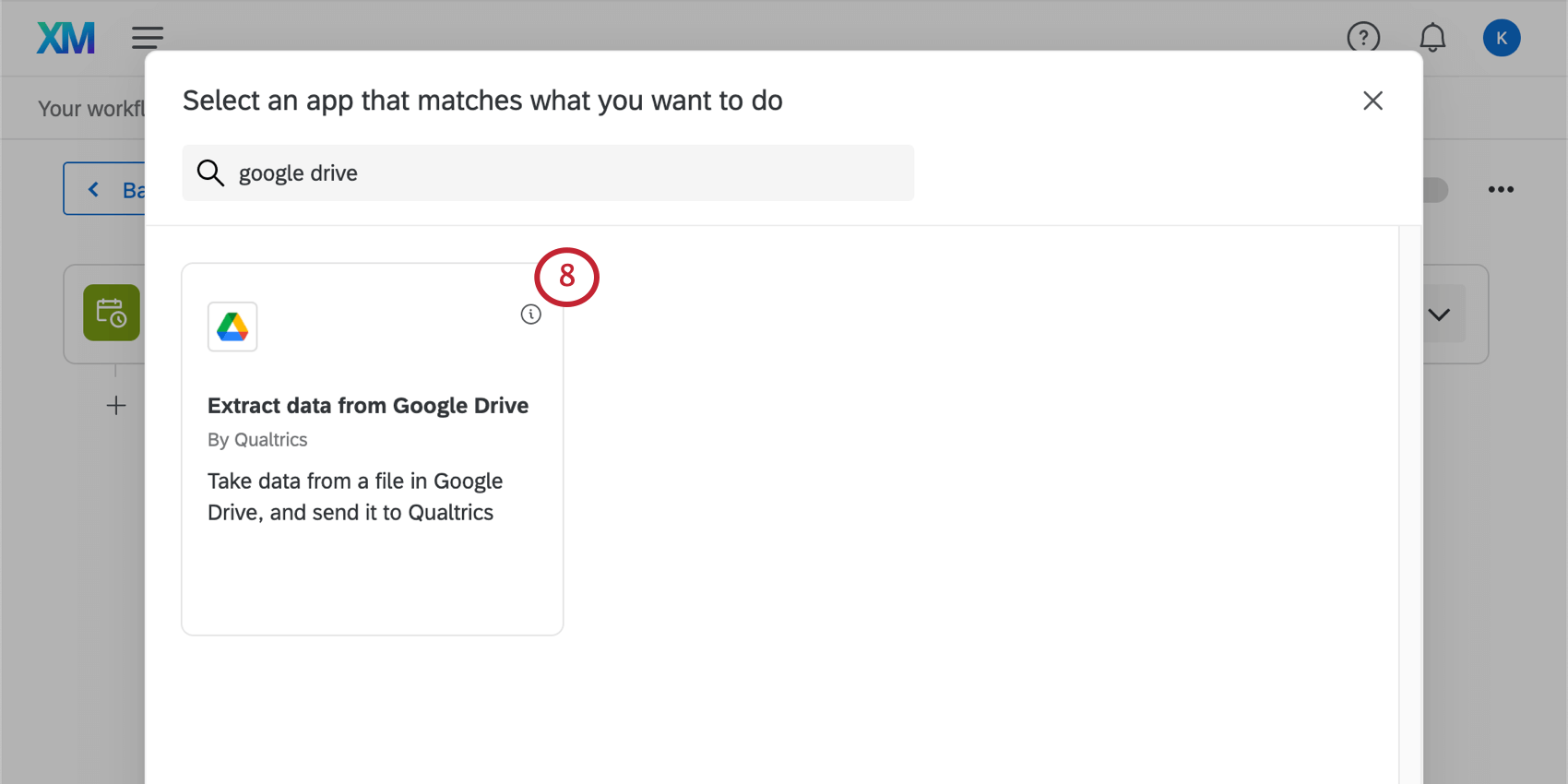 use the search bar at the top to search for the google drive task