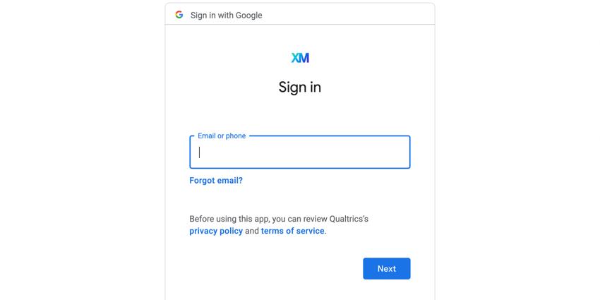 the google login screen
