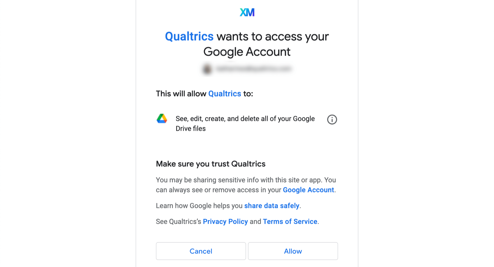 the authorization screen for allowing Qualtrics