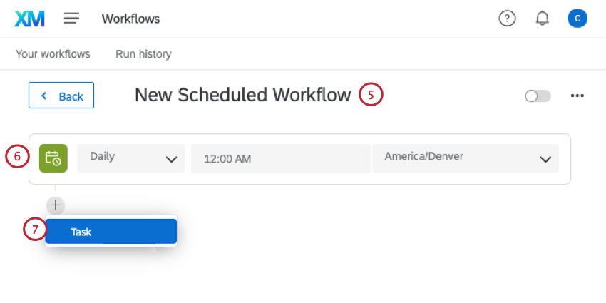 renaming the workflow, adding a schedule, and adding a task