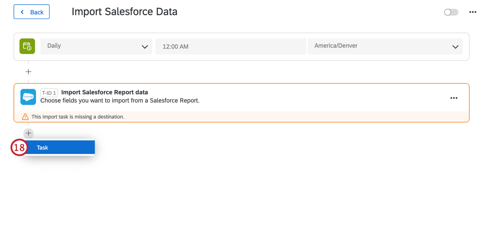 clicking task after setting up the import salesforce report data task