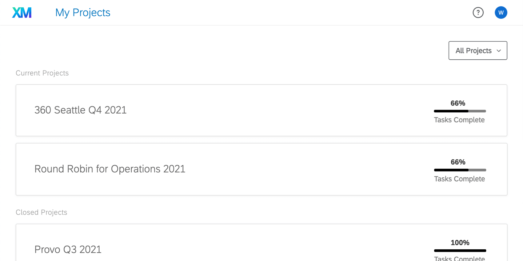 My Projects page in the Participant Portal showing a list of projects