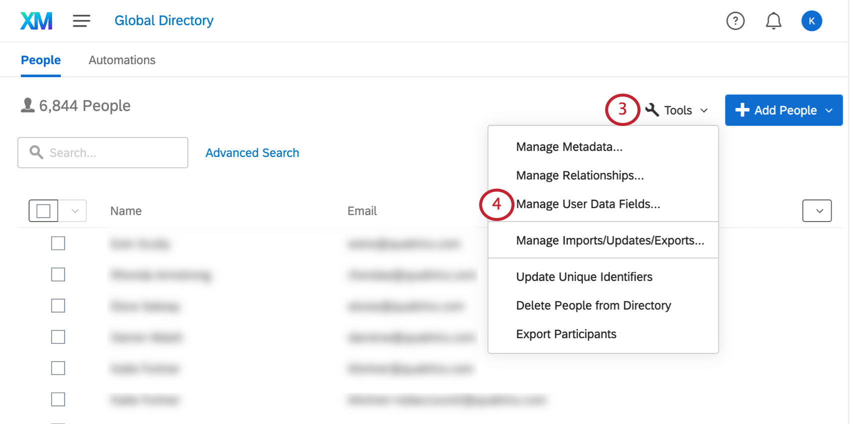 the employee directory. the tools menu is open and the manage user data fields is selected