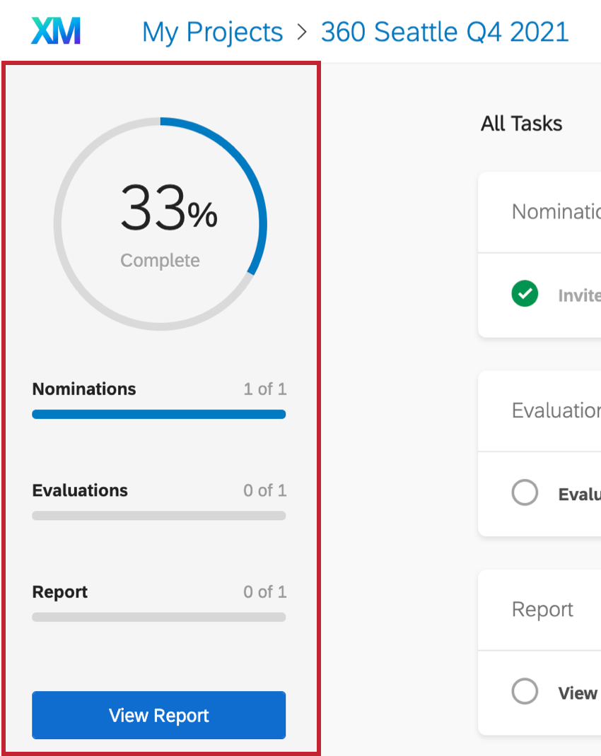 Sidebar in the Participant Portal showing completion status of the evaluation