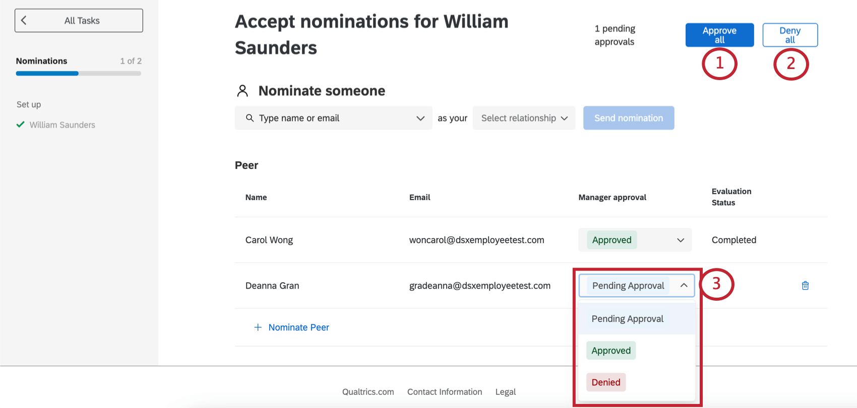 Process for approving nominations