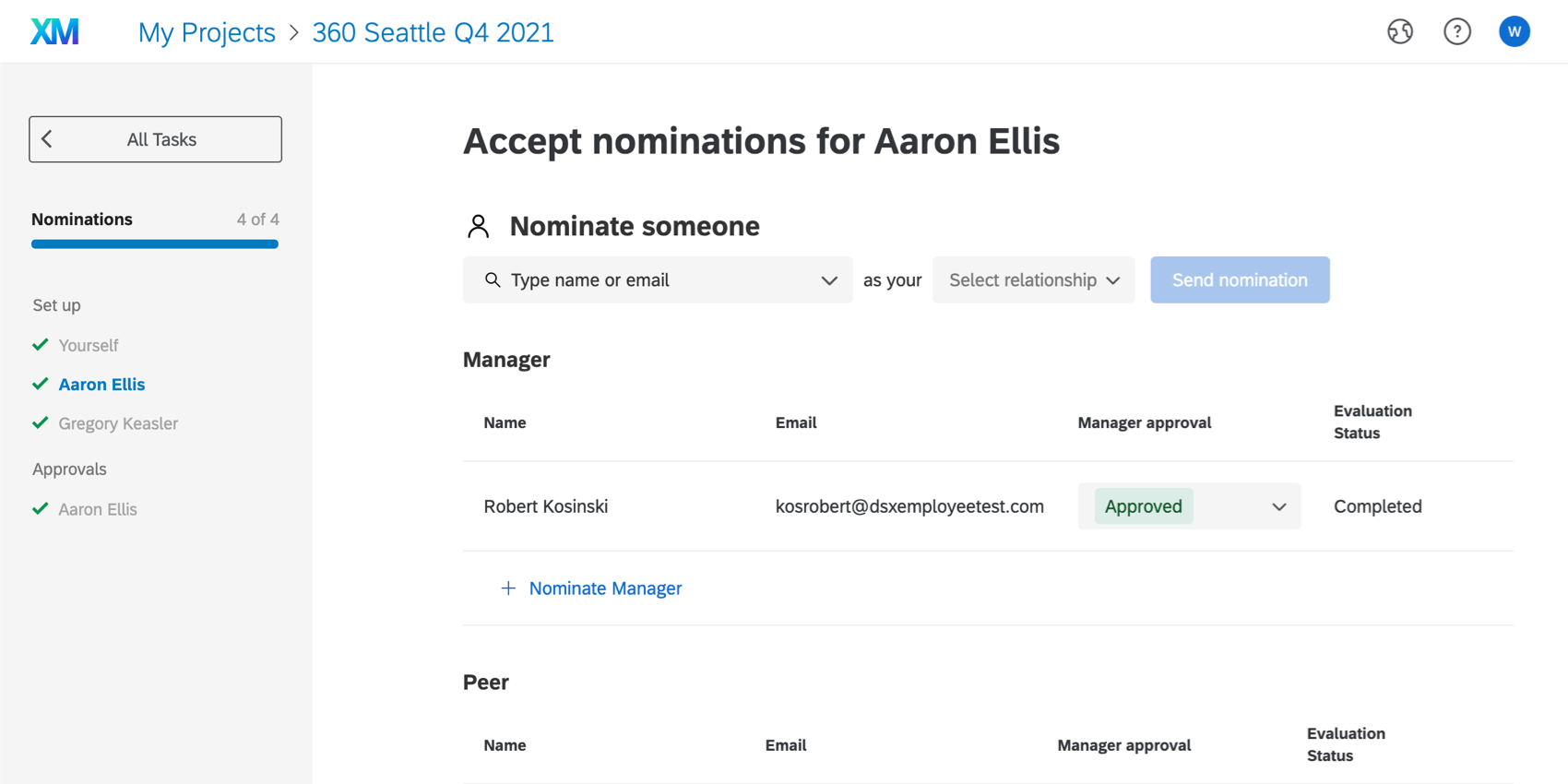 """Image where the layout is the same, but there's a list of direct reports to the left, and the top says, """"Accept nominations for Aaron Ellis"""" (a direct report)"""