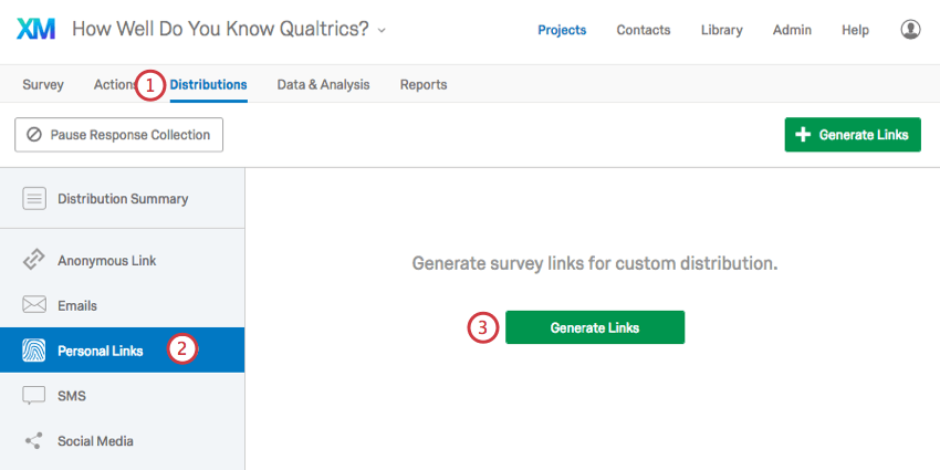 Generate Links button in center of empty Personal Links page in Distributions Tab