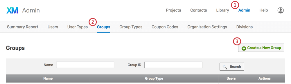 Create a New Group button in top-right corner of Groups tab in the Admin page