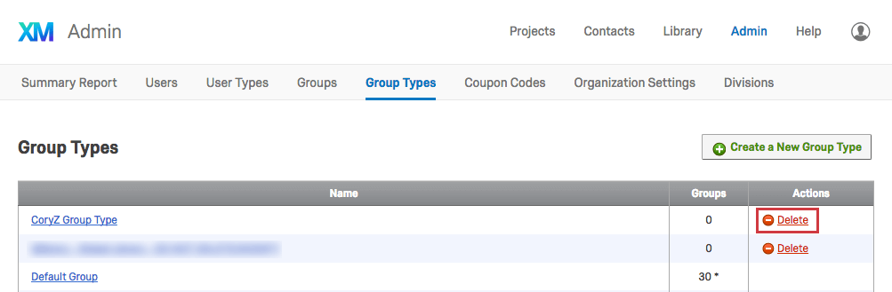 Option to Delete a Group Type in the righthand column called Actions