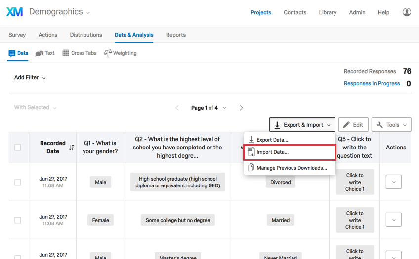 Import Data option from Export & Import dropdown in Data & Analysis tab