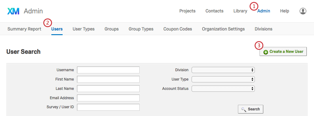Create a New User button in the Users tab of the Admin page