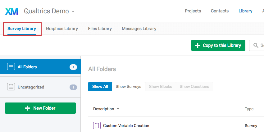 Survey Library tab in Library page