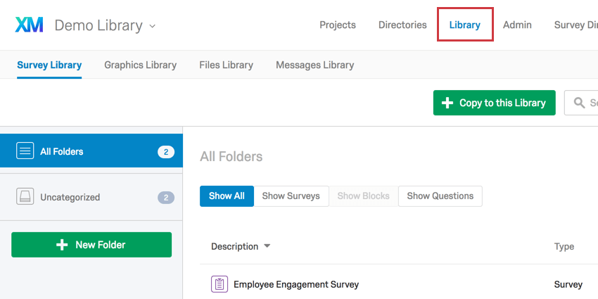 Library Page option located in top-right corner of Qualtrics