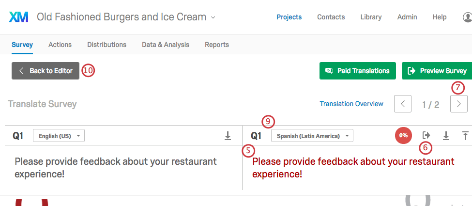 Navigating arrows and questions outlined on the Translate survey page