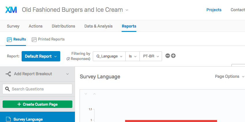 Filter on a report that says data will only be included in charts and tables if Q_Language is equal to PT-BR (Brazilian Portuguese)