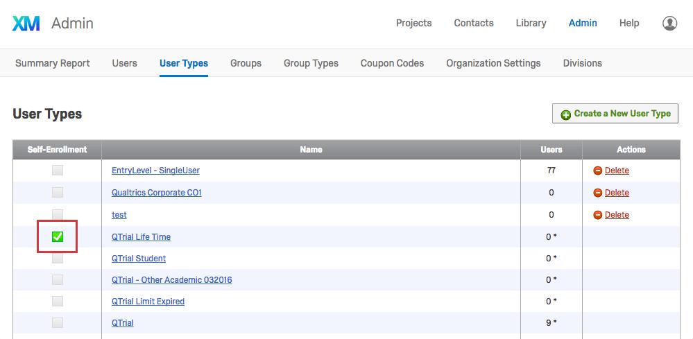 Self-Enrollment Checkboxes in lefthand column of User Types list