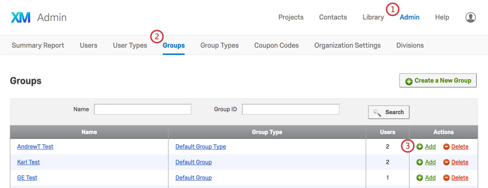 The Add button in the Actions column of the Groups tab in the Admin page