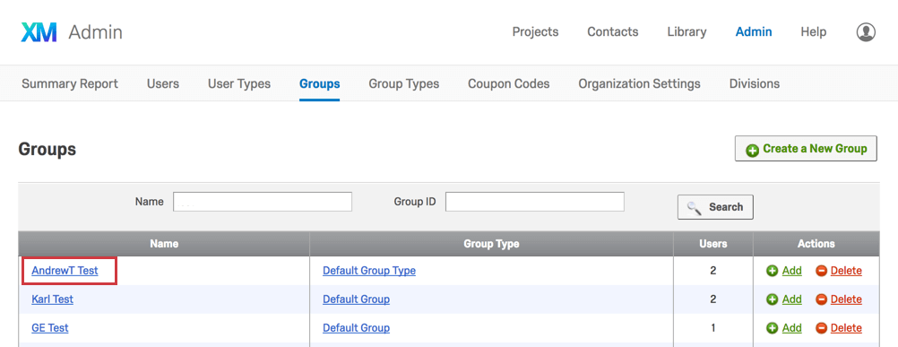 Group name in the lefthand Name column in the Groups tab
