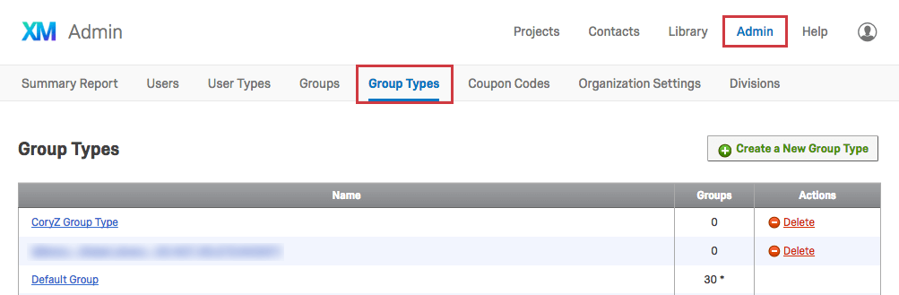 Group Types tab within the Admin page