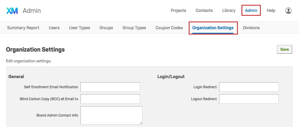 Organization Settings tab within the Admin page